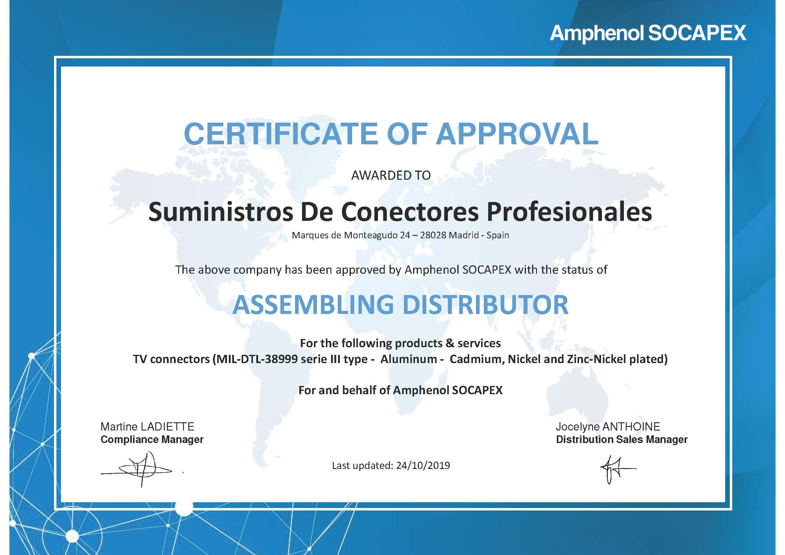 Amphenol Socapex Certificate